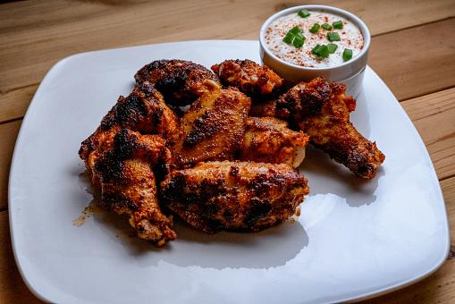Chicken Meat「Plate of buffalo chicken wings with ranch dressing」:スマホ壁紙(14)