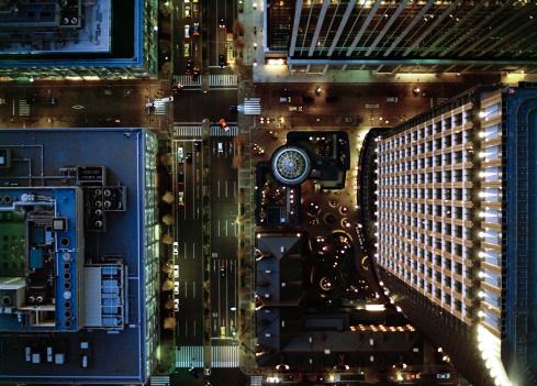 Tokyo - Japan「Ariel view of Marunouchi, Tokyo at night.」:スマホ壁紙(19)