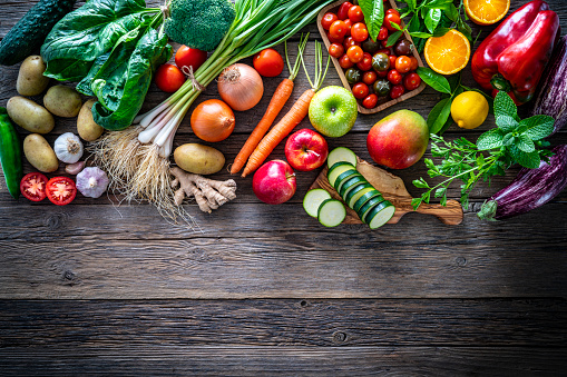 Strawberry「Fruits and vegetables vegetarian food on rustic wood board」:スマホ壁紙(11)