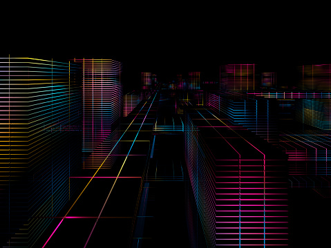 Quantum Computing「Cyber city」:スマホ壁紙(9)