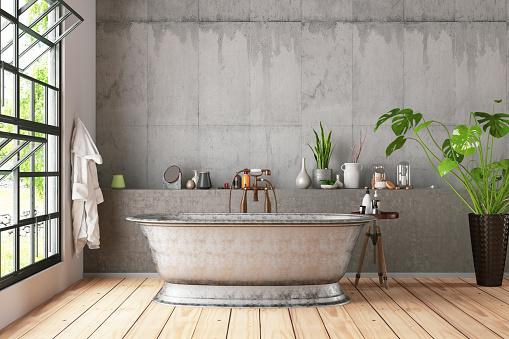 Bathtub「Loft Bathroom with Plants」:スマホ壁紙(12)