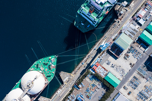 Pier「Large transport ship and view of the harbor」:スマホ壁紙(18)