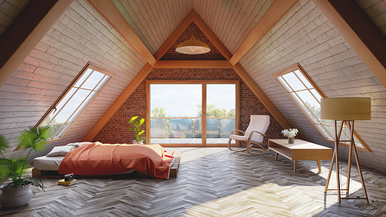 Orange Color「Loft attic bedroom concept」:スマホ壁紙(5)