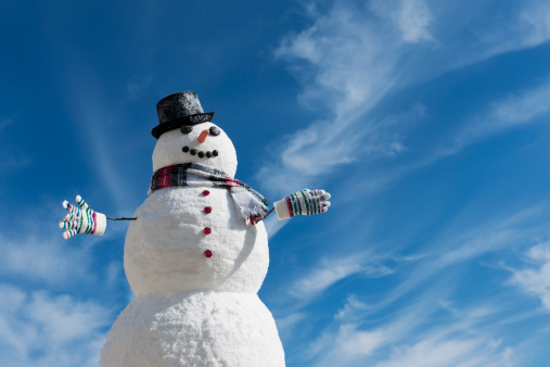雪だるま「USA, New Jersey, Jersey City, Snowman under blue sky」:スマホ壁紙(18)