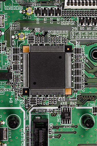 Mother Board「CPU socket on a computer circuit board seen from a close up point of view, United Kingdom」:スマホ壁紙(12)