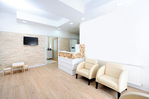 Wood Laminate Flooring「Modern waiting room in a dentist office」:スマホ壁紙(6)