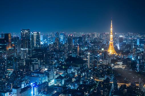 Tokyo Tower「Night urban skyline and Tokyo Tower」:スマホ壁紙(10)