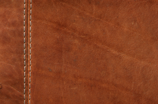 Cowhide「Brown Leather with Stitches Close-up shot」:スマホ壁紙(17)