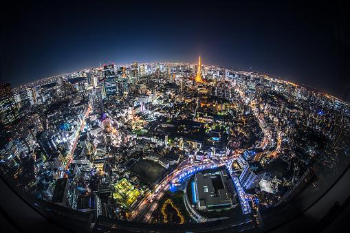 Tokyo Tower「Fisheye View of Tokyo at Night」:スマホ壁紙(8)