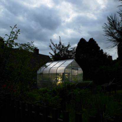 Gardening「Illuminated greenhouse at night.」:スマホ壁紙(1)