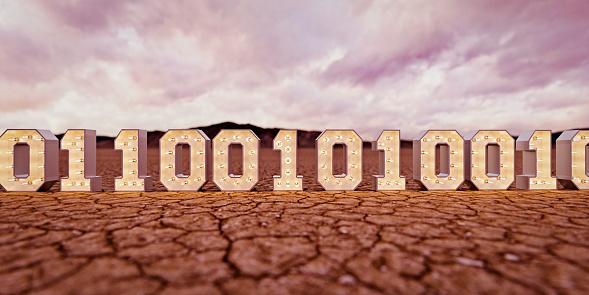 Zero「Illuminated binary code in desert」:スマホ壁紙(6)