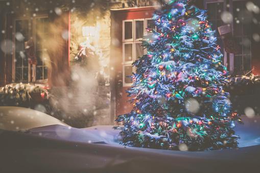 Christmas Lights「Illuminated Christmas Tree at Night During Snowstorm」:スマホ壁紙(8)