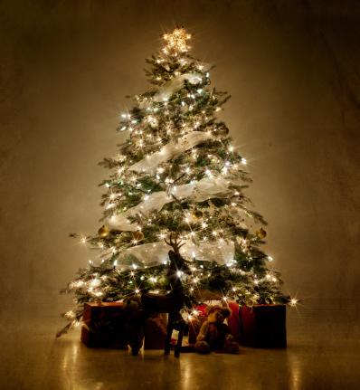 Christmas「Illuminated Christmas tree at night」:スマホ壁紙(3)