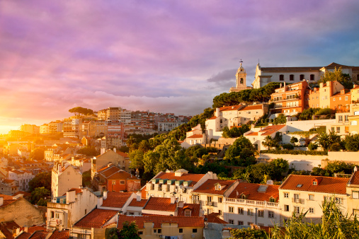 Bell Tower - Tower「Lisbon, Old Town at Sunset」:スマホ壁紙(2)