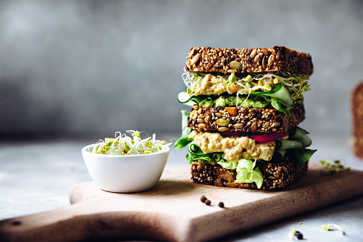 Avocado「Vegan super sandwich served with sprouts」:スマホ壁紙(1)