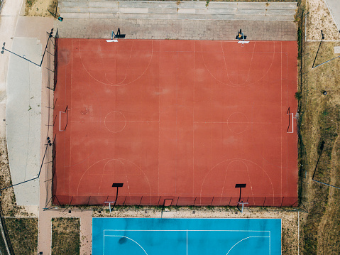 Agricultural Field「Three Basketball courts from aerial point of view」:スマホ壁紙(13)