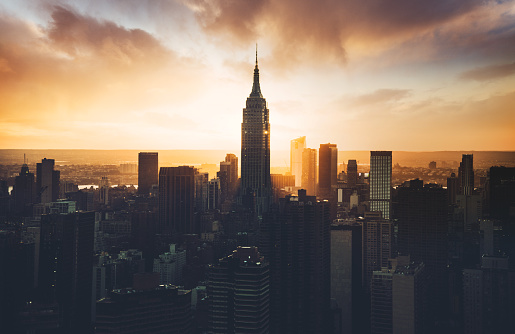 New York State「empire state building aerial view at dusk」:スマホ壁紙(12)