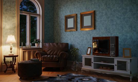 Turkey - Middle East「Retro Style Living Room Evening Scene」:スマホ壁紙(10)