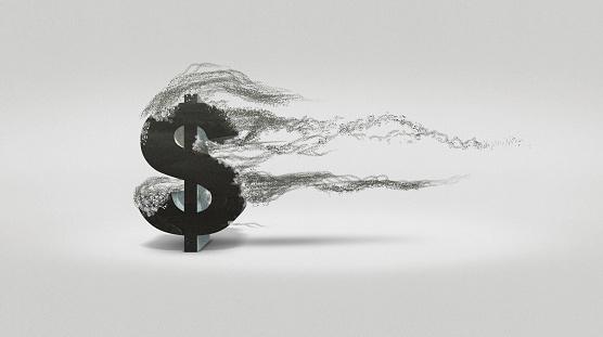 Recession「Dollar sign blowing away」:スマホ壁紙(12)