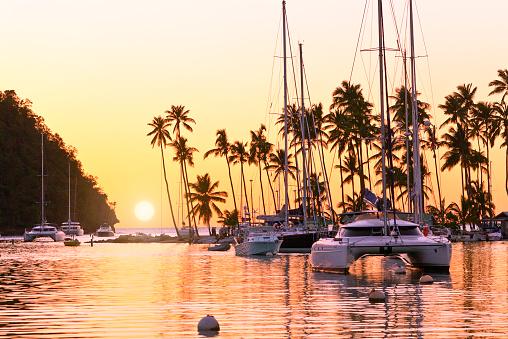 Catamaran「St. Lucia, Marigot bay at sunset」:スマホ壁紙(7)