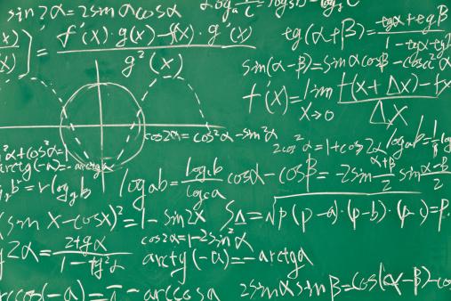 Number「Mathematical formula on green blackboard」:スマホ壁紙(6)