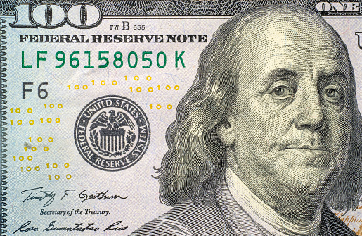 American One Hundred Dollar Bill「Close-up of US one hundred dollar bill」:スマホ壁紙(11)
