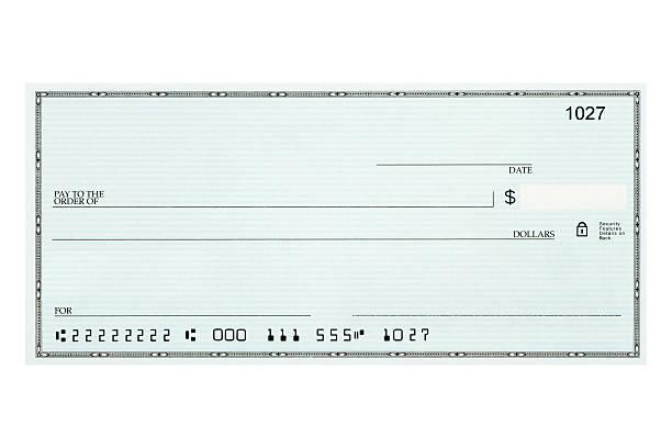 Close-up of blank bank check sample against white background:スマホ壁紙(壁紙.com)