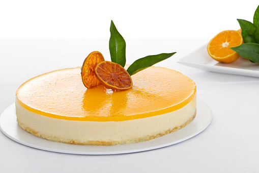 Sweet Pie「Close-up of a delicious orange cheesecake」:スマホ壁紙(19)