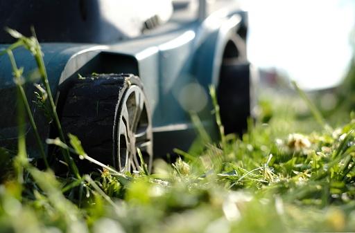 Cutting「Close-up of a lawn mower on the grass」:スマホ壁紙(3)