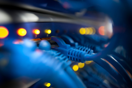 Extreme Close-Up「Closeup Of A Server Network Panel with Lights and Cables」:スマホ壁紙(17)