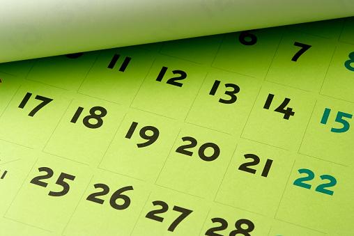 Diary「Close-up of opened green calendar」:スマホ壁紙(3)