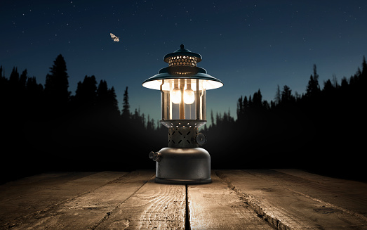 Picnic Table「Lantern on a picnic table in the forest」:スマホ壁紙(17)