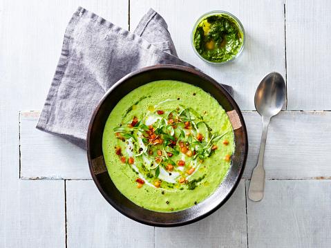 Avocado「Cream of avocado soup, yogurt, bacon, mint pesto, fresh herbs」:スマホ壁紙(7)