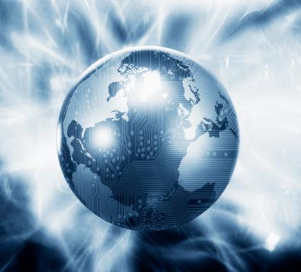 Big Tech「Glowing globe with microchip overlay」:スマホ壁紙(8)