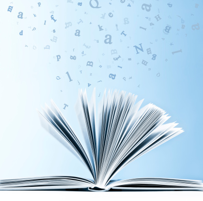 Text「Open book with flying, scattered letters isolated on blue background」:スマホ壁紙(14)