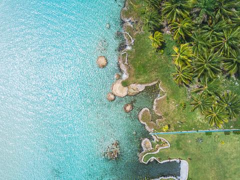 Shallow「Mexiko, Yucatan, Quintana Roo, lagoon of Bacalar, palm treee at turquoise water, drone image」:スマホ壁紙(7)