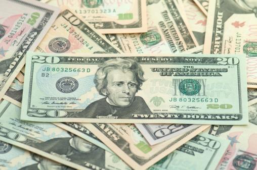 US Currency「Pile of new series American money twenty on top.」:スマホ壁紙(12)