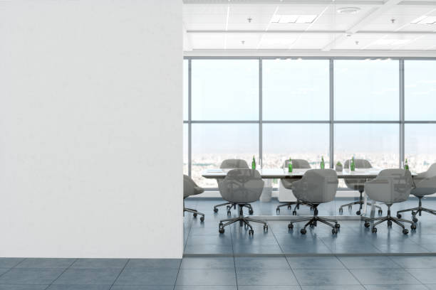 Modern Empty Office Room With White Blank Wall:スマホ壁紙(壁紙.com)