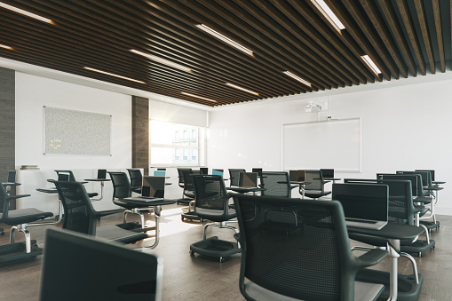 Education Training Class「Modern Empty Classroom Organized For Social Distancing」:スマホ壁紙(7)