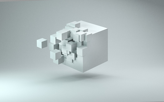 Collapsing「3D cube render against light gray background」:スマホ壁紙(12)