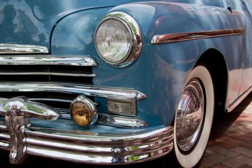 Hot Rod Car「Old Blue Plymouth Automobile」:スマホ壁紙(16)