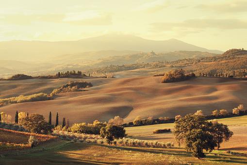 Monte Amiata「Tuscan landscape in the morning」:スマホ壁紙(13)