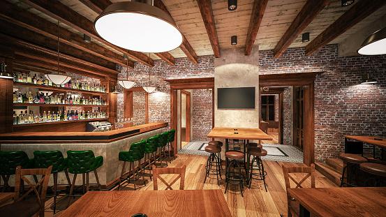 Design Element「Cafe/Restaurant/Pub. Interior design. Computer generated image. Architectural Visualization. 3D rendering.」:スマホ壁紙(10)