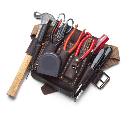 Carpentry「Tool belt full of tools isolated on white background」:スマホ壁紙(13)
