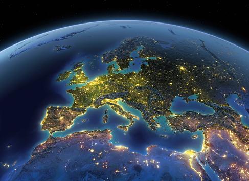 Sphere「Earth at night Europe」:スマホ壁紙(12)
