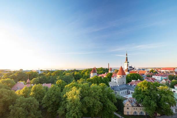 Tallinn's Old Town with St Olaf's church's spire towering above it, Estonia:スマホ壁紙(壁紙.com)