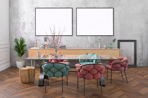 Pastel「Nordic style apartment dining room with picture frame template」:スマホ壁紙(14)