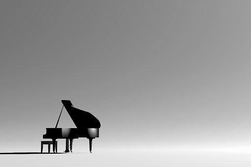 Gray Background「Grand piano and bench in empty room」:スマホ壁紙(3)