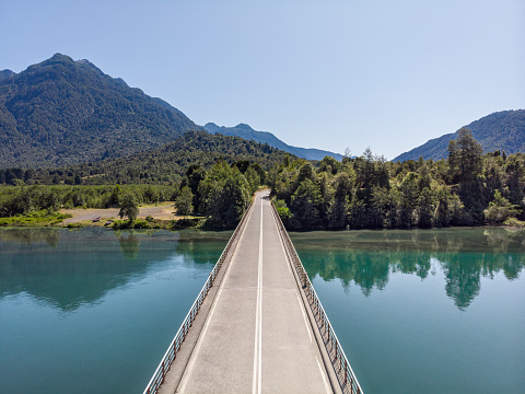 Wide Shot「Bridge over Petrohue River in southern Chile」:スマホ壁紙(14)