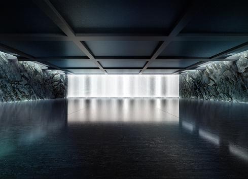 Garage「Empty dark abstract concrete room smooth interior.」:スマホ壁紙(11)
